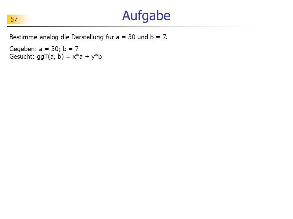 Aufgabe Bestimme analog die Darstellung für a = 30 und b = 7.