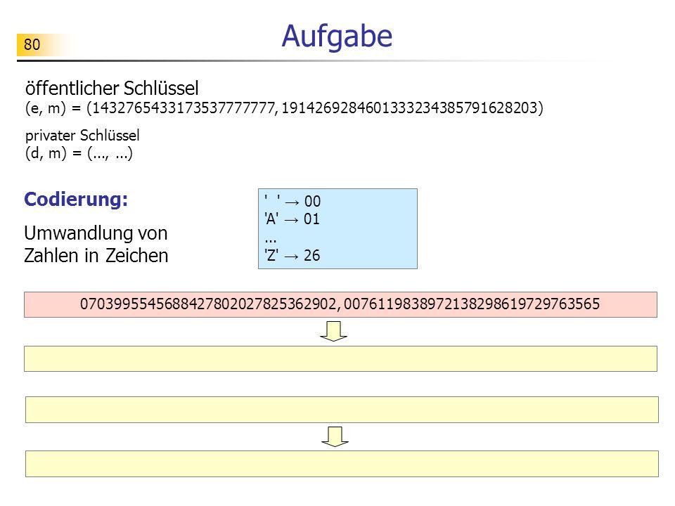 Aufgabe öffentlicher Schlüssel (e, m) = (1432765433173537777777, 1914269284601333234385791628203) privater Schlüssel (d, m) = (..., ...)