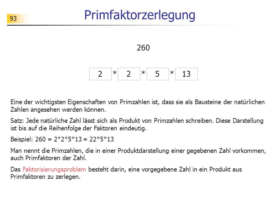 Primfaktorzerlegung 260 2 * 2 * 5 * 13
