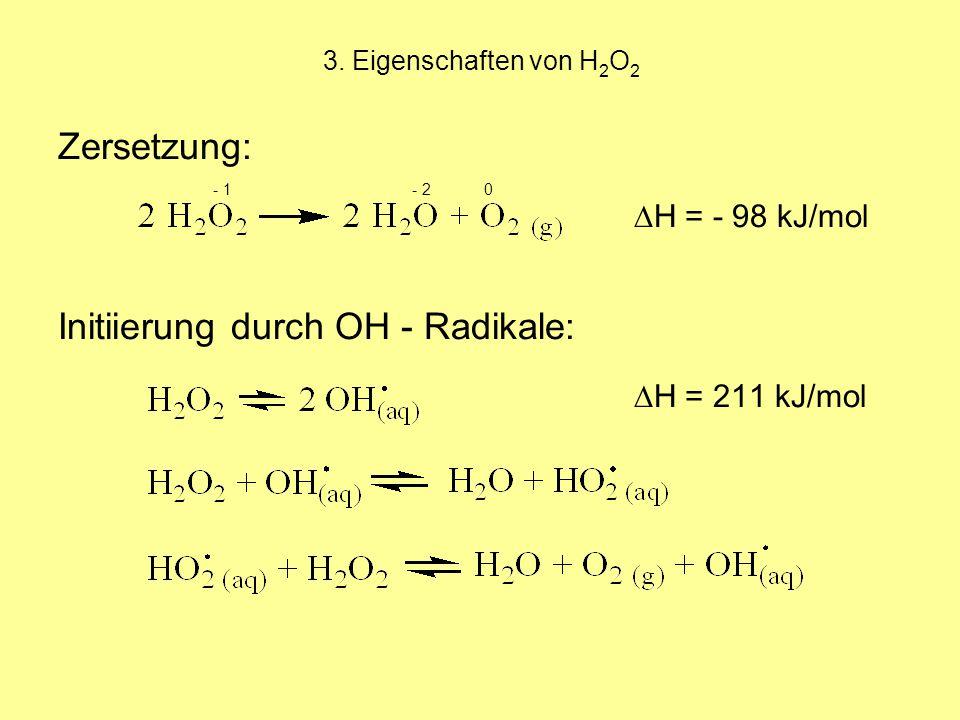 - 1 - 2 0 Zersetzung: ∆H = - 98 kJ/mol