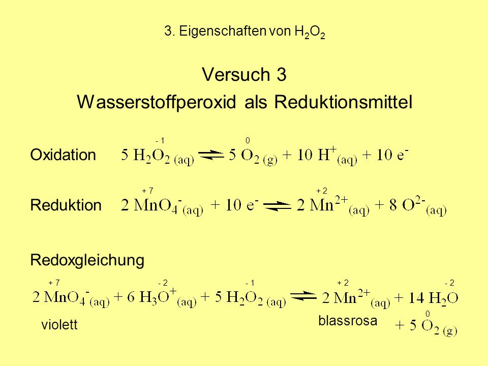 Wasserstoffperoxid als Reduktionsmittel