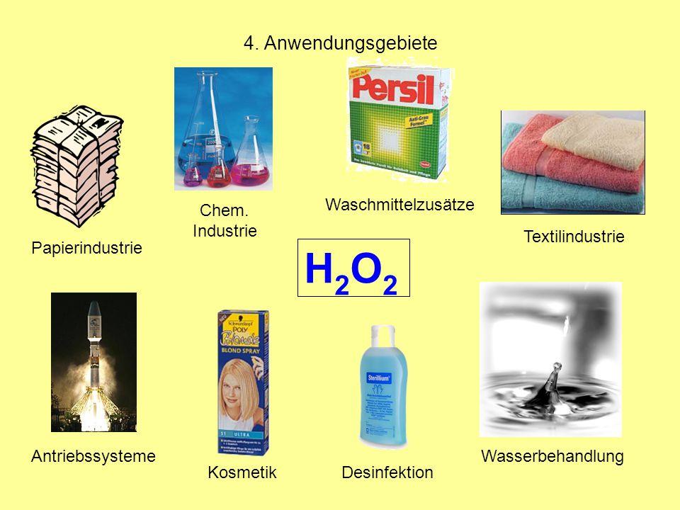 H2O2 4. Anwendungsgebiete Waschmittelzusätze Chem. Industrie