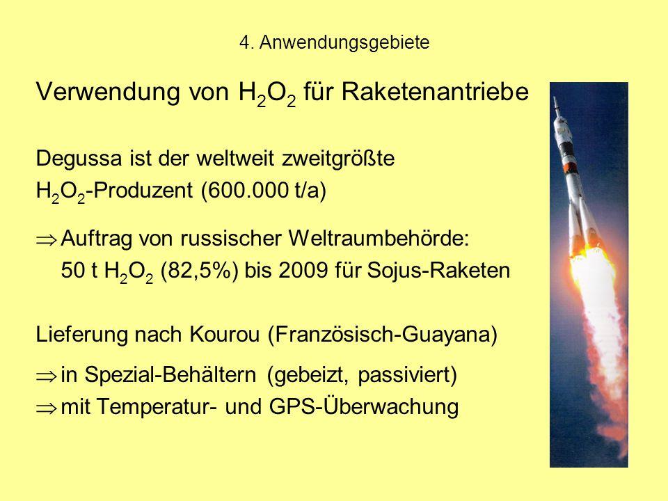 Verwendung von H2O2 für Raketenantriebe
