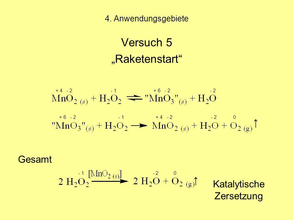 "Versuch 5 ""Raketenstart Gesamt ↑ ↑ Katalytische Zersetzung"