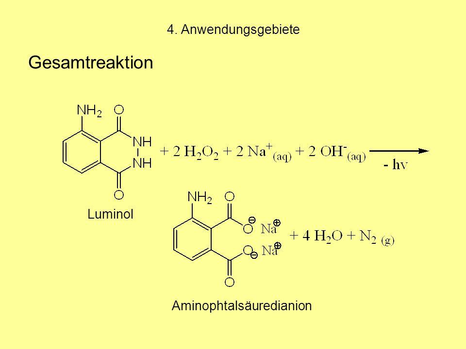 4. Anwendungsgebiete Gesamtreaktion Luminol Aminophtalsäuredianion