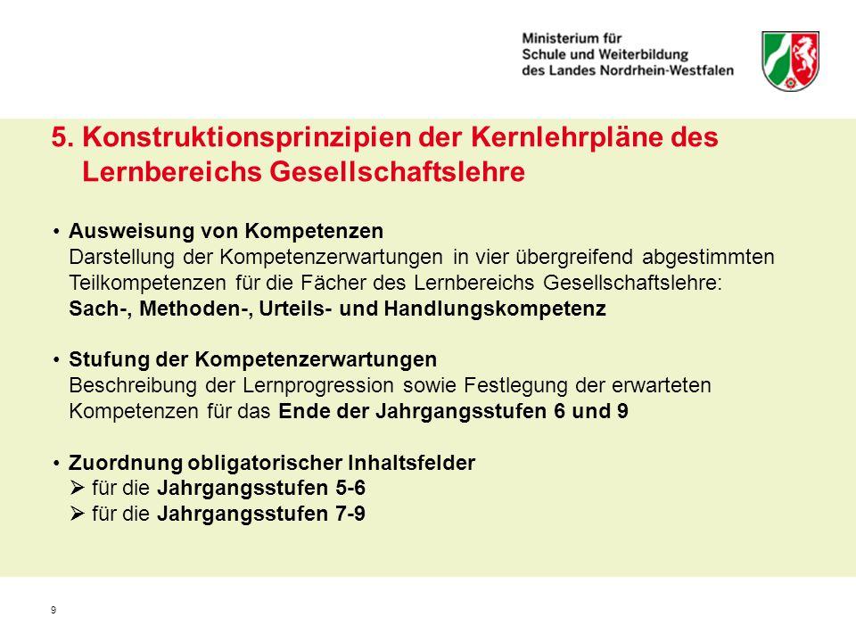 5. Konstruktionsprinzipien der Kernlehrpläne des Lernbereichs Gesellschaftslehre