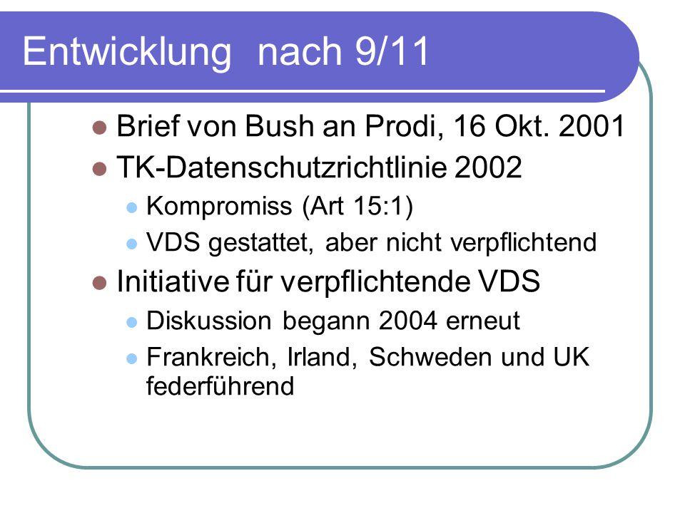 Entwicklung nach 9/11 Brief von Bush an Prodi, 16 Okt. 2001