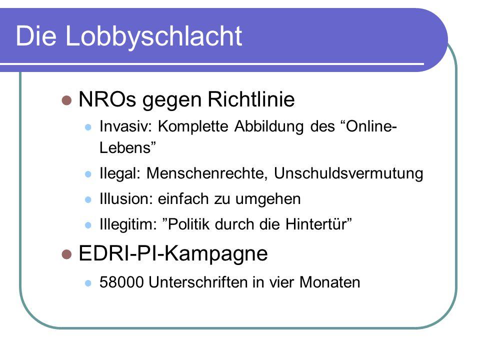 Die Lobbyschlacht NROs gegen Richtlinie EDRI-PI-Kampagne
