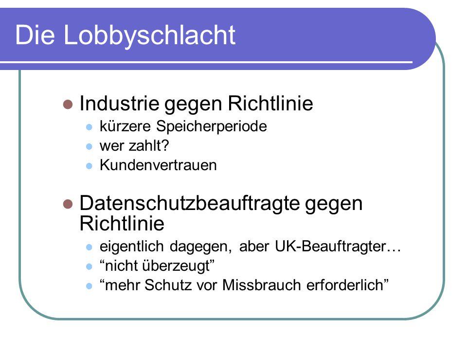 Die Lobbyschlacht Industrie gegen Richtlinie