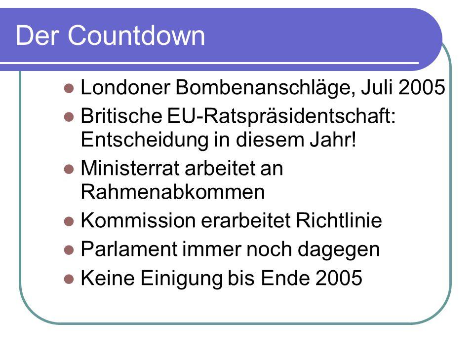 Der Countdown Londoner Bombenanschläge, Juli 2005