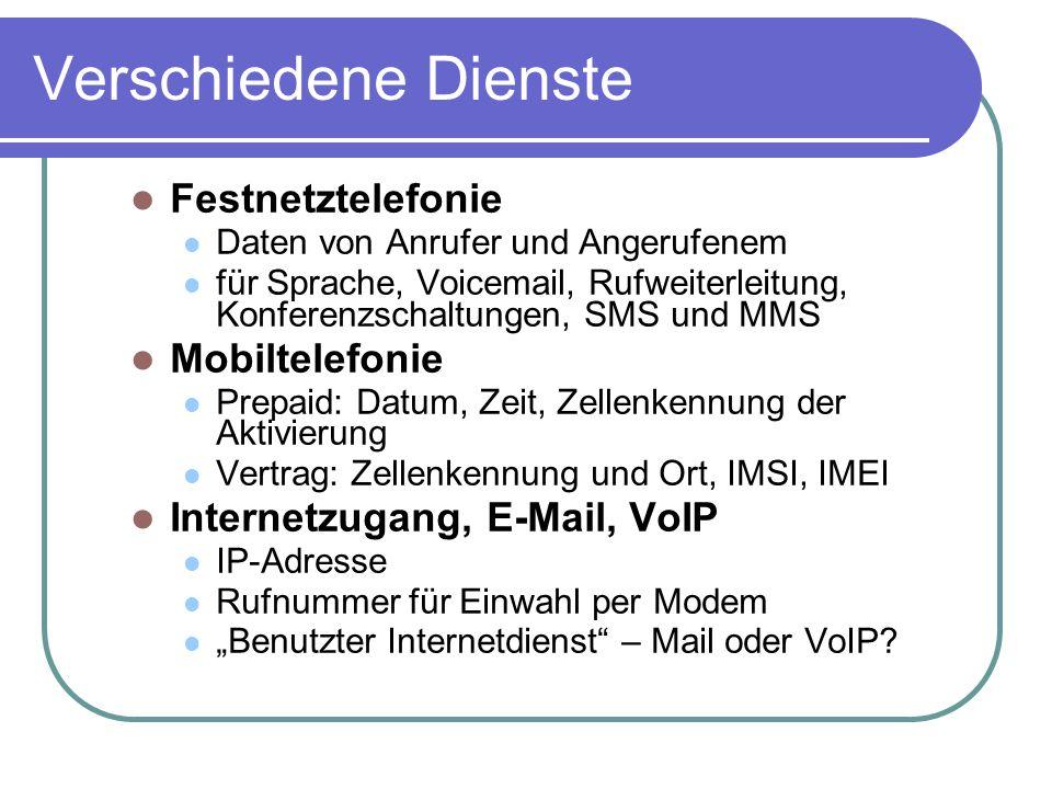Verschiedene Dienste Festnetztelefonie Mobiltelefonie