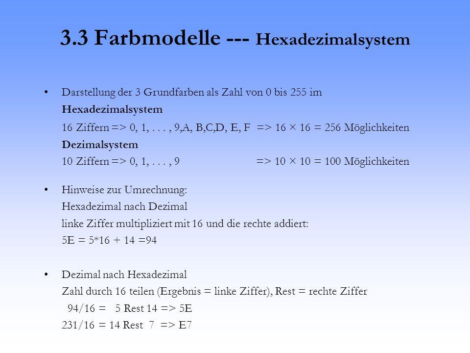 3.3 Farbmodelle --- Hexadezimalsystem