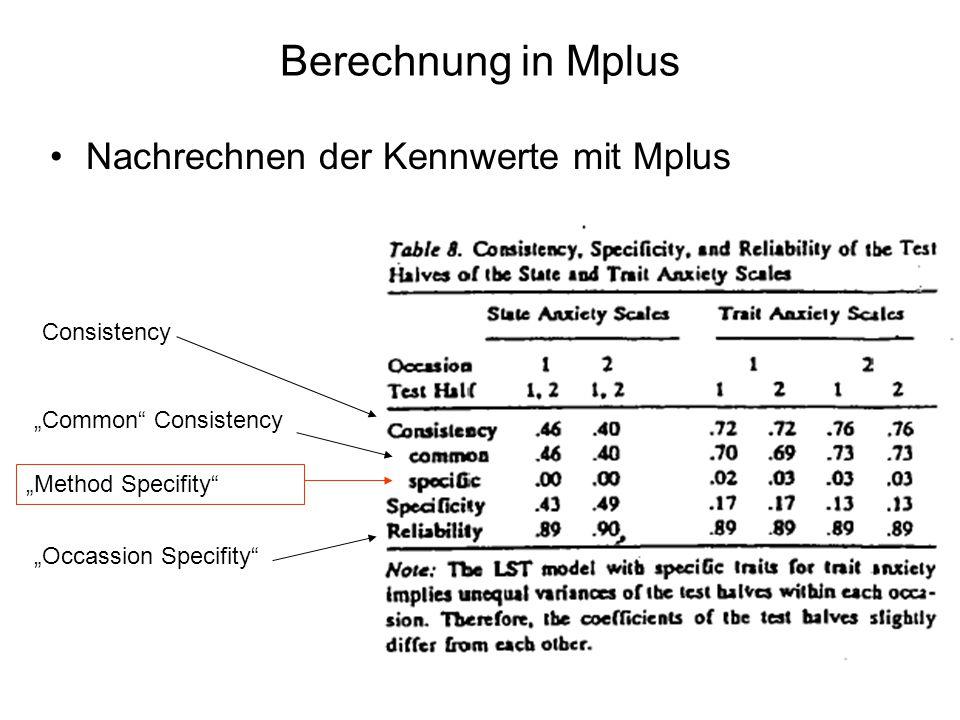 Berechnung in Mplus Nachrechnen der Kennwerte mit Mplus Consistency