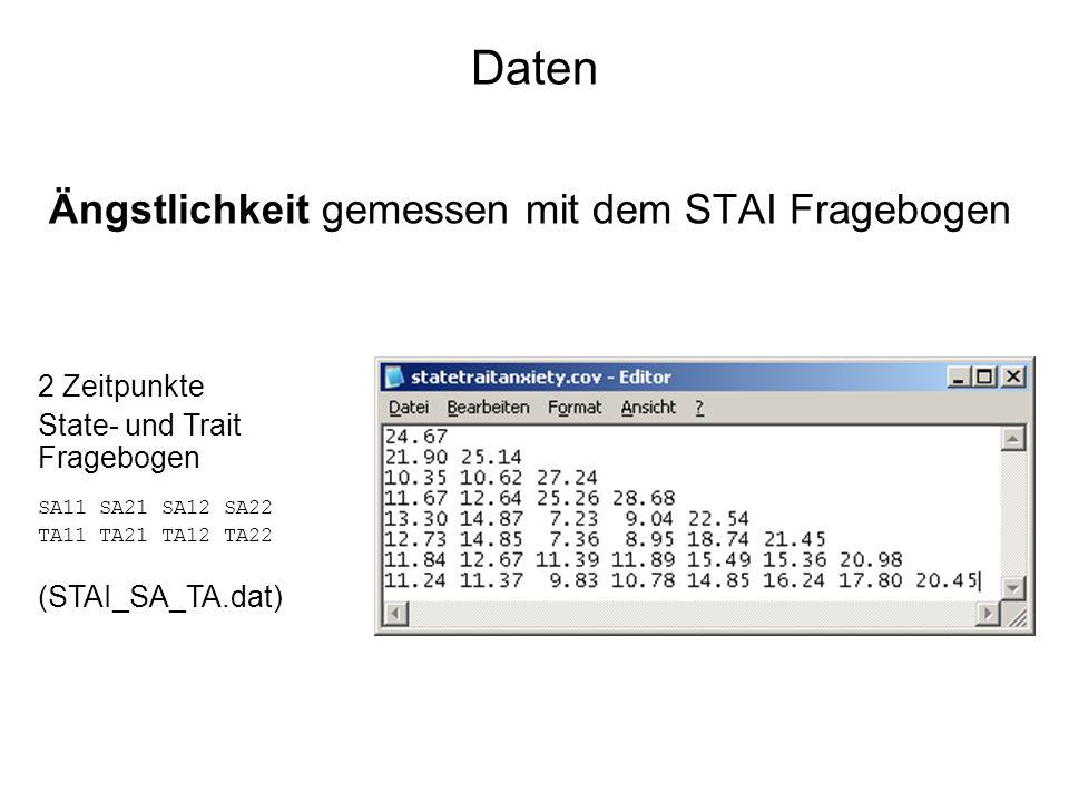 Daten Ängstlichkeit gemessen mit dem STAI Fragebogen 2 Zeitpunkte