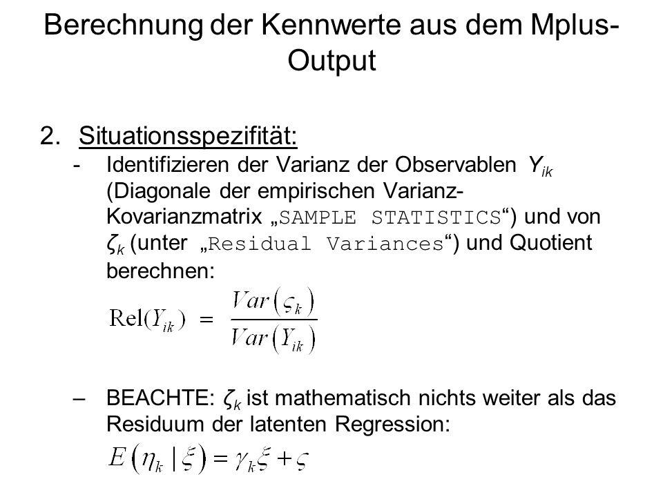 Berechnung der Kennwerte aus dem Mplus-Output