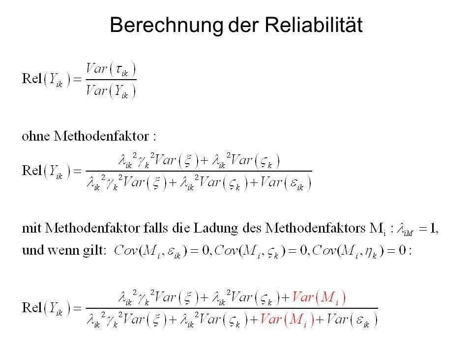 Berechnung der Reliabilität