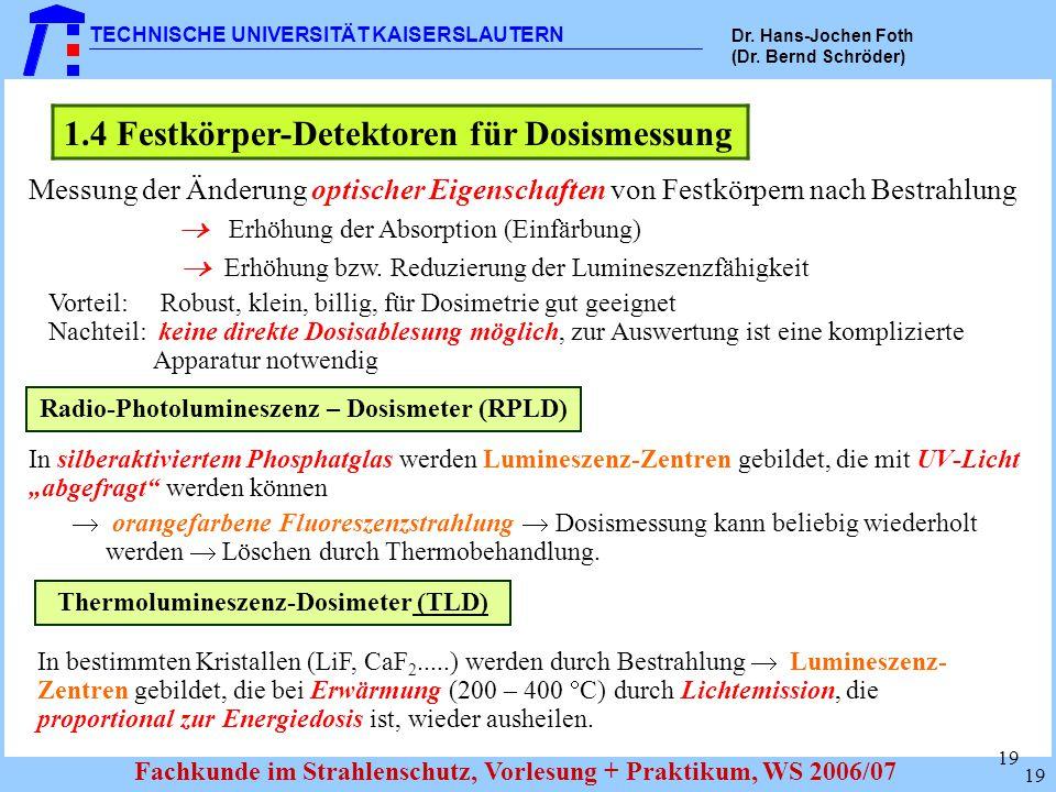 1.4 Festkörper-Detektoren für Dosismessung