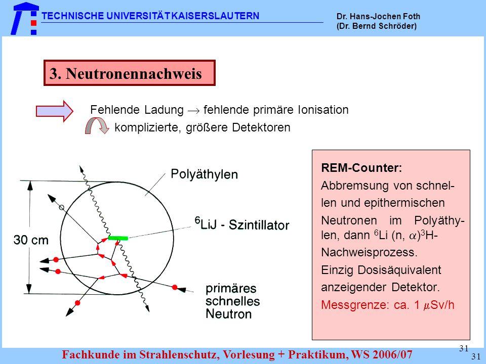 3. Neutronennachweis Fehlende Ladung  fehlende primäre Ionisation