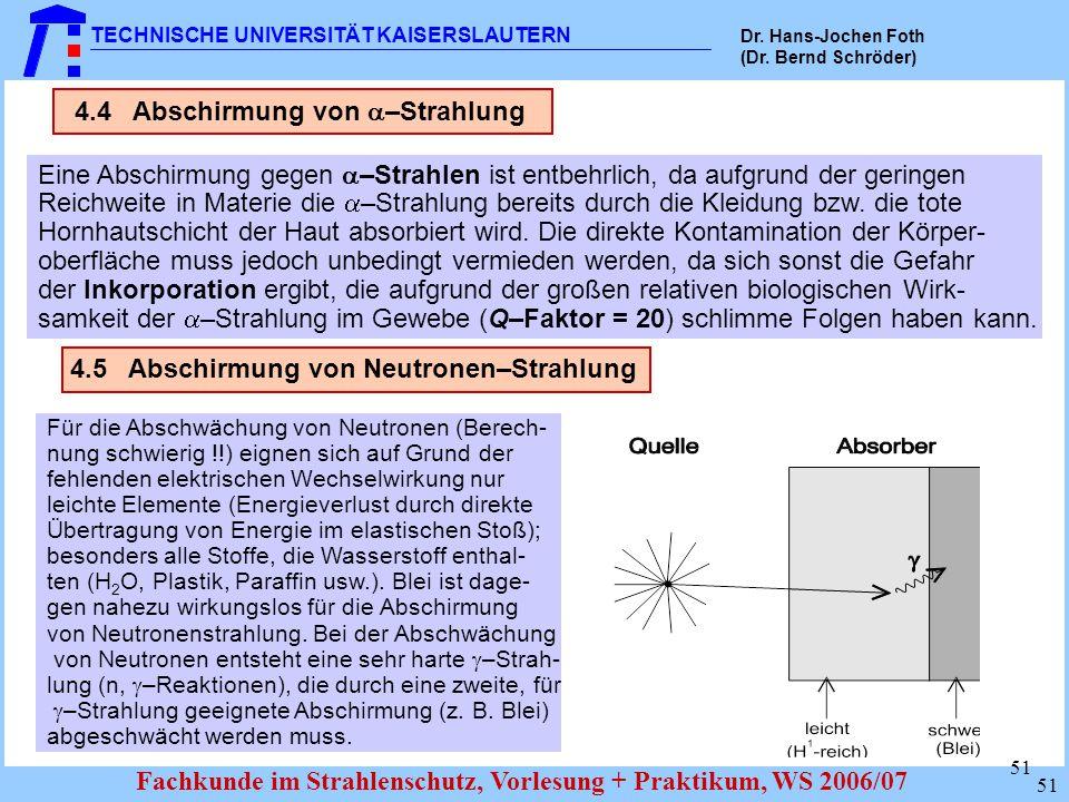 4.4 Abschirmung von –Strahlung