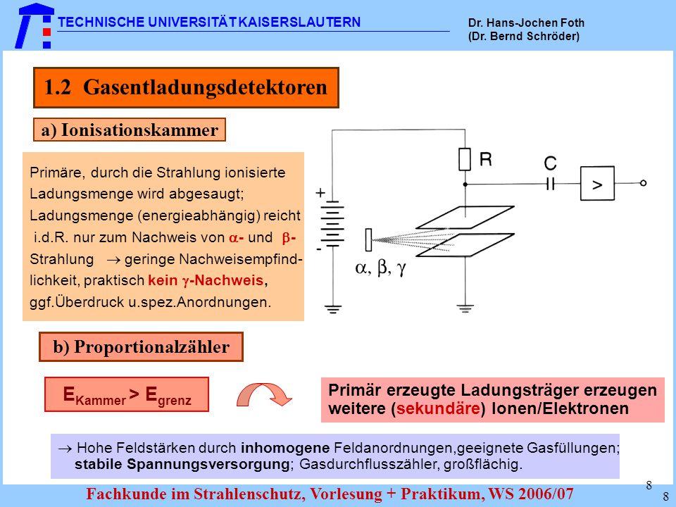 1.2 Gasentladungsdetektoren b) Proportionalzähler