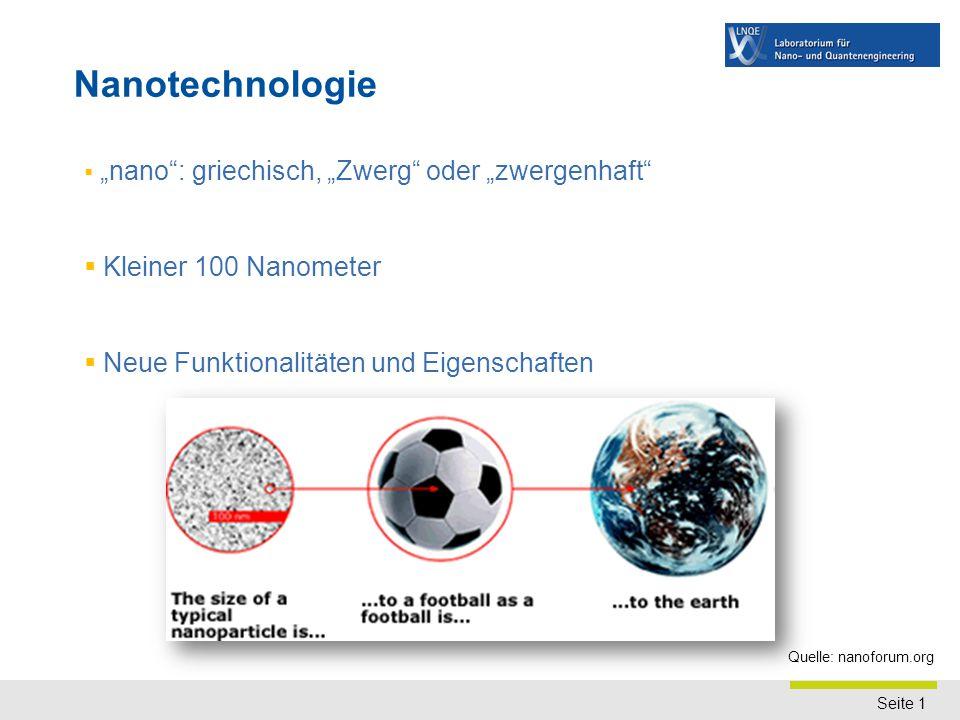 Motivation Märkte Marktabschätzung der Nanotechnologie weltweit