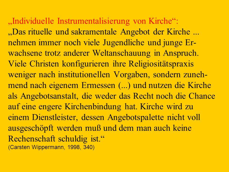 """""""Individuelle Instrumentalisierung von Kirche : """"Das rituelle und sakramentale Angebot der Kirche ..."""