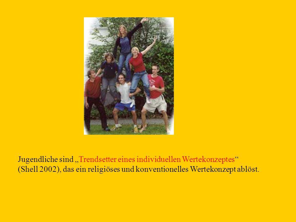 """Jugendliche sind """"Trendsetter eines individuellen Wertekonzeptes (Shell 2002), das ein religiöses und konventionelles Wertekonzept ablöst."""