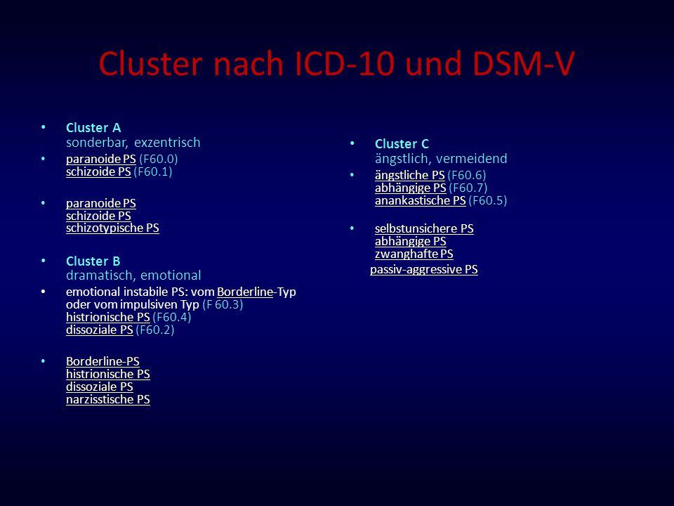 Cluster nach ICD-10 und DSM-V