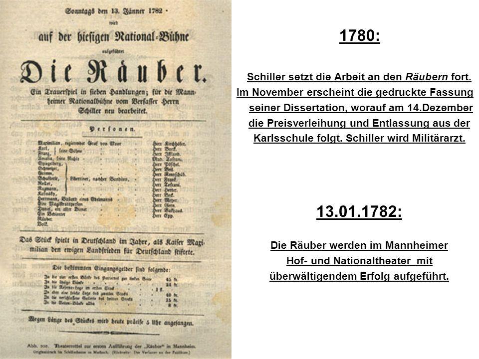1780: Schiller setzt die Arbeit an den Räubern fort.