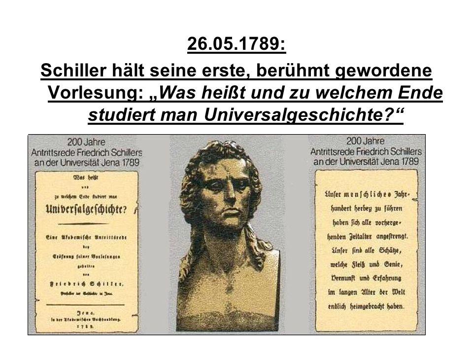 """26.05.1789: Schiller hält seine erste, berühmt gewordene Vorlesung: """"Was heißt und zu welchem Ende studiert man Universalgeschichte"""