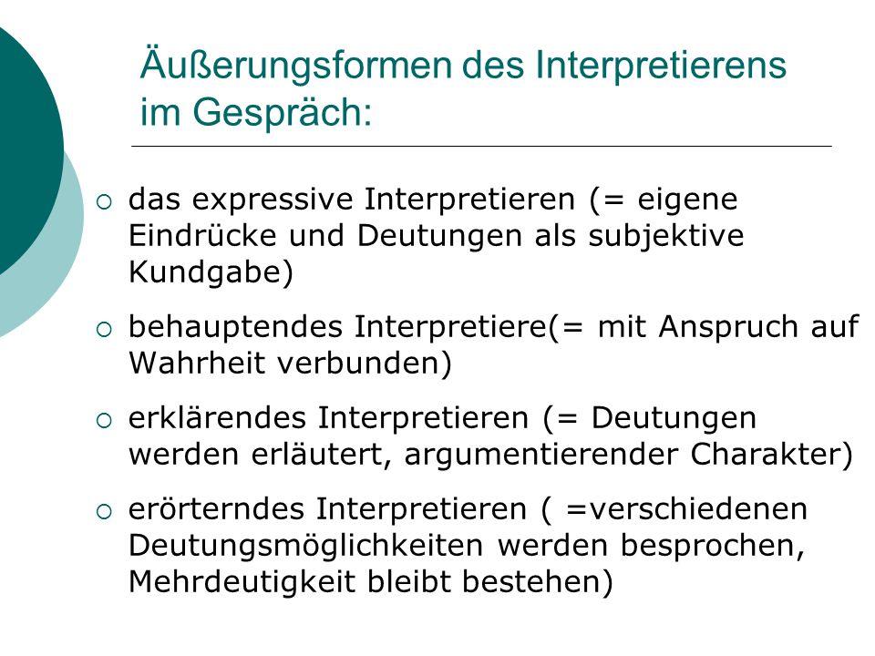 Äußerungsformen des Interpretierens im Gespräch: