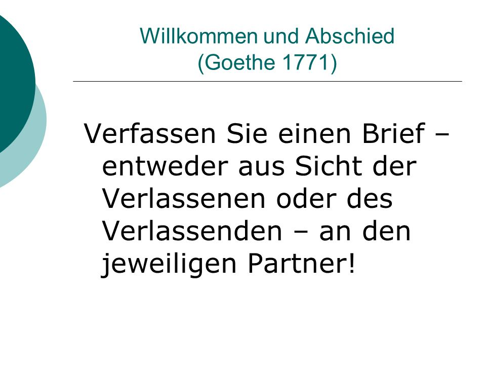 Willkommen und Abschied (Goethe 1771)