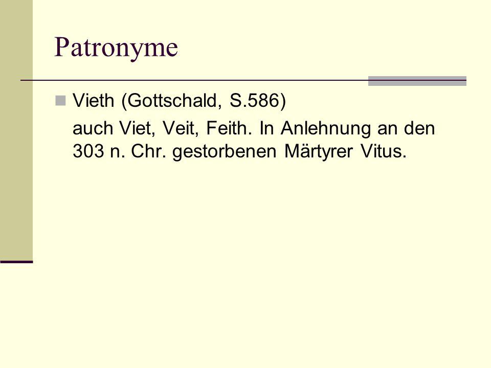 Patronyme Vieth (Gottschald, S.586)