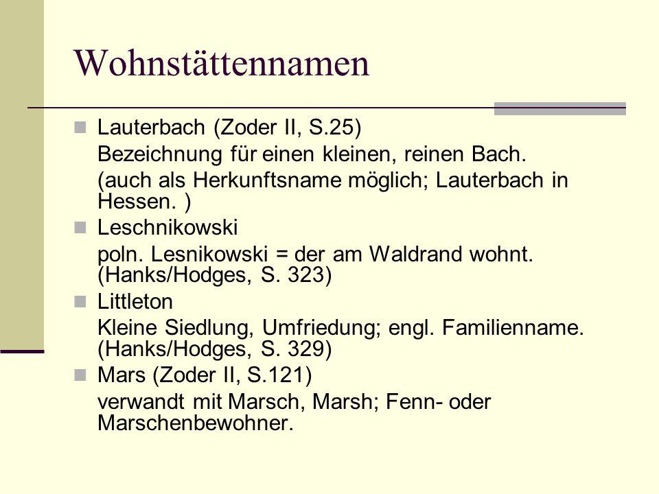 Wohnstättennamen Lauterbach (Zoder II, S.25)
