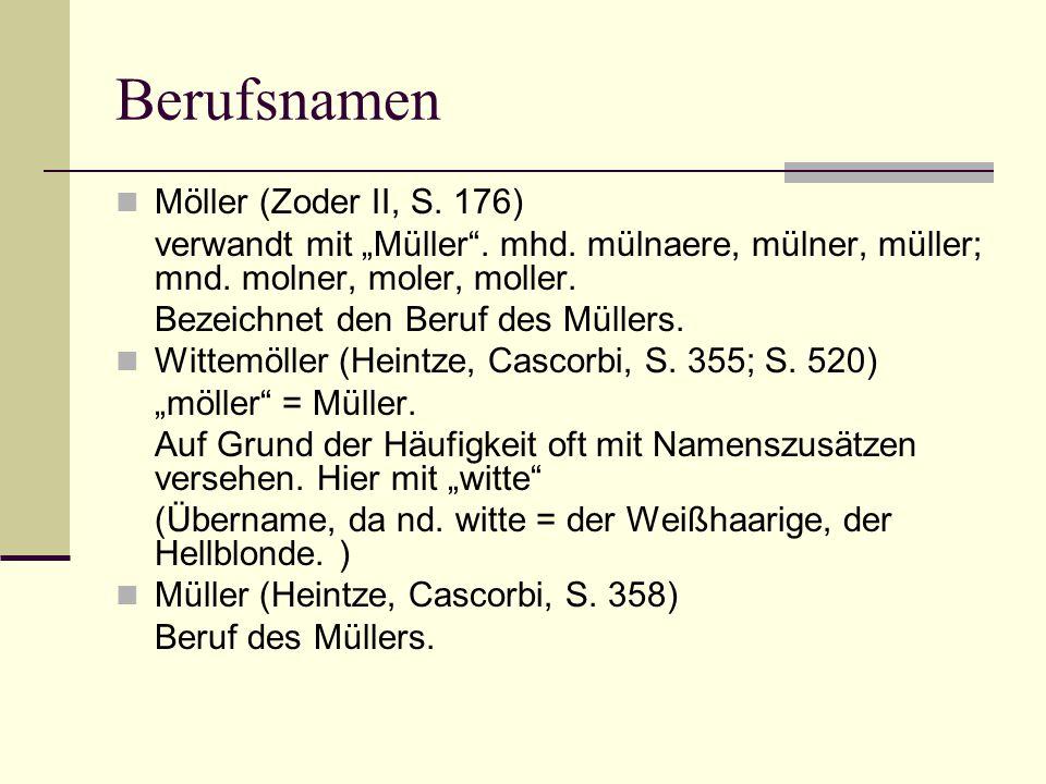 Berufsnamen Möller (Zoder II, S. 176)