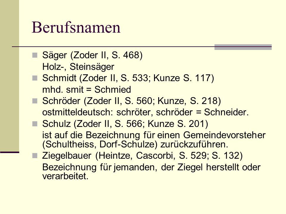 Berufsnamen Säger (Zoder II, S. 468) Holz-, Steinsäger