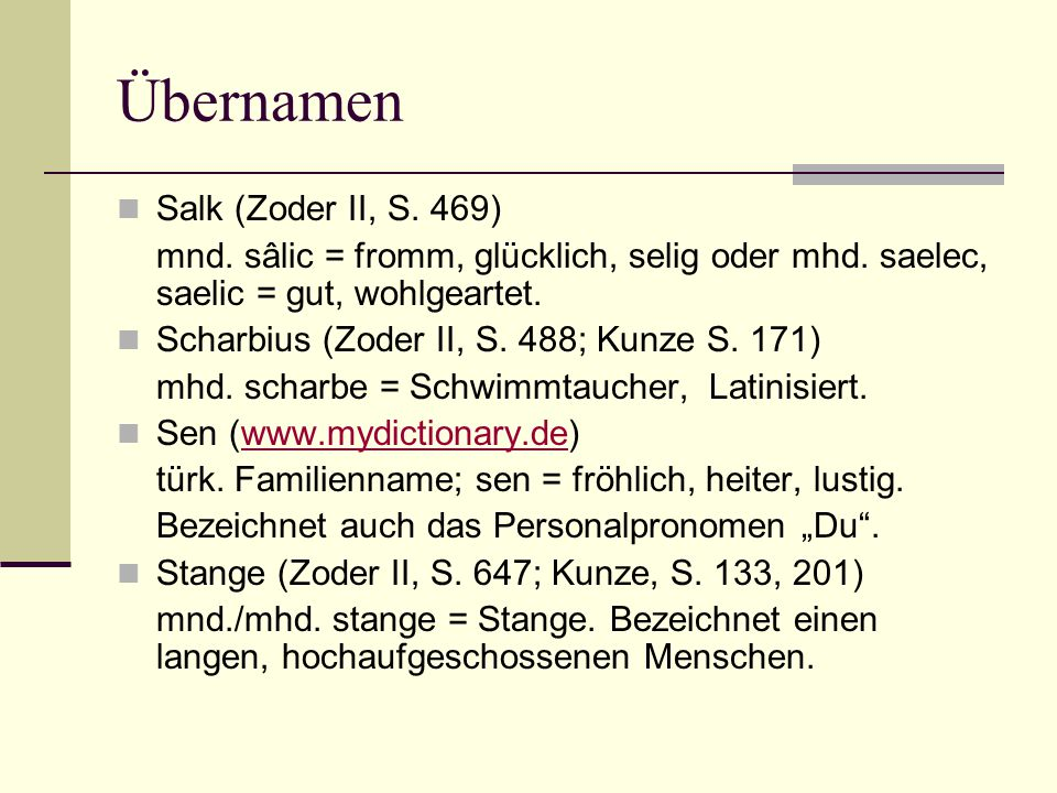 Übernamen Salk (Zoder II, S. 469)