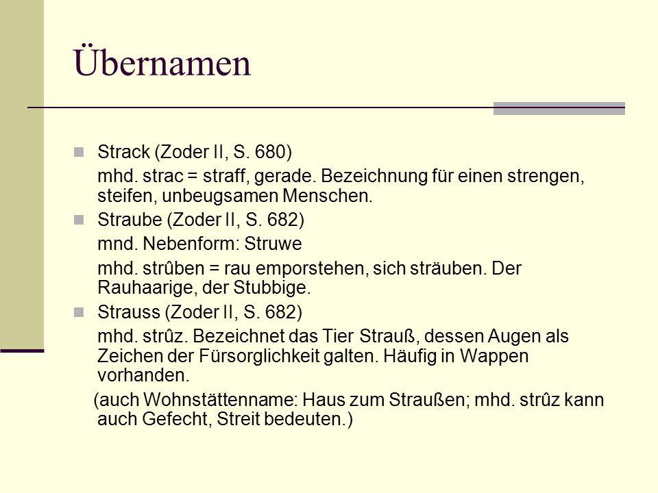 Übernamen Strack (Zoder II, S. 680)