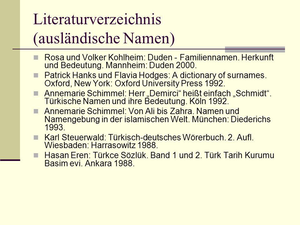 Literaturverzeichnis (ausländische Namen)
