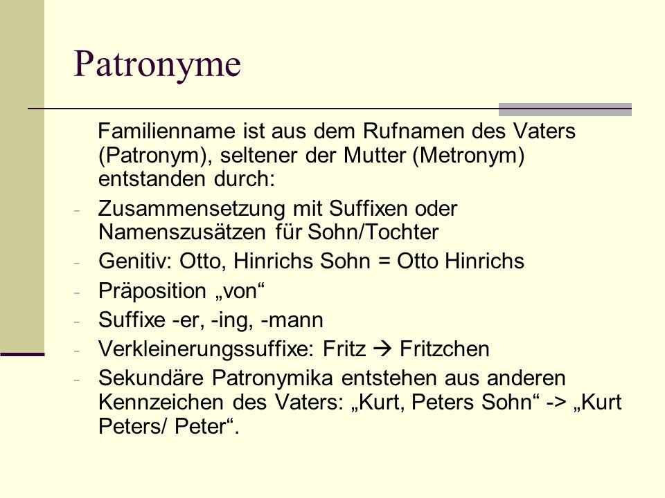 Patronyme Familienname ist aus dem Rufnamen des Vaters (Patronym), seltener der Mutter (Metronym) entstanden durch: