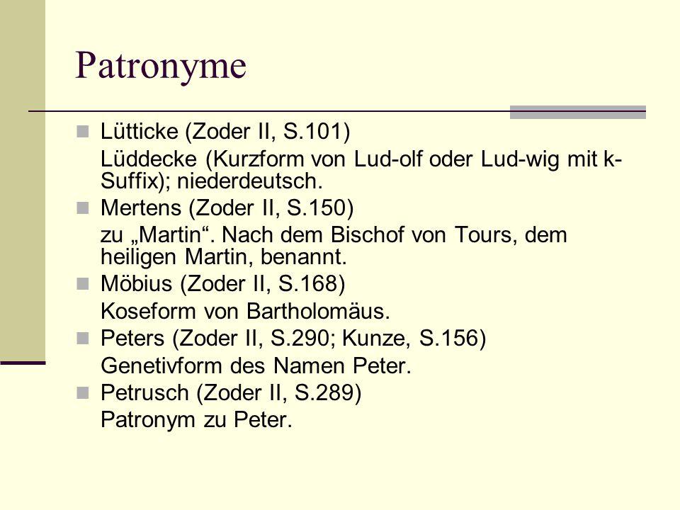Patronyme Lütticke (Zoder II, S.101)