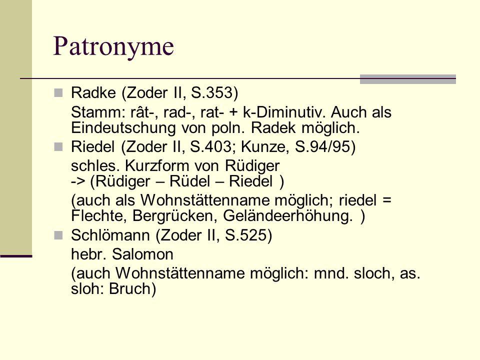 Patronyme Radke (Zoder II, S.353)