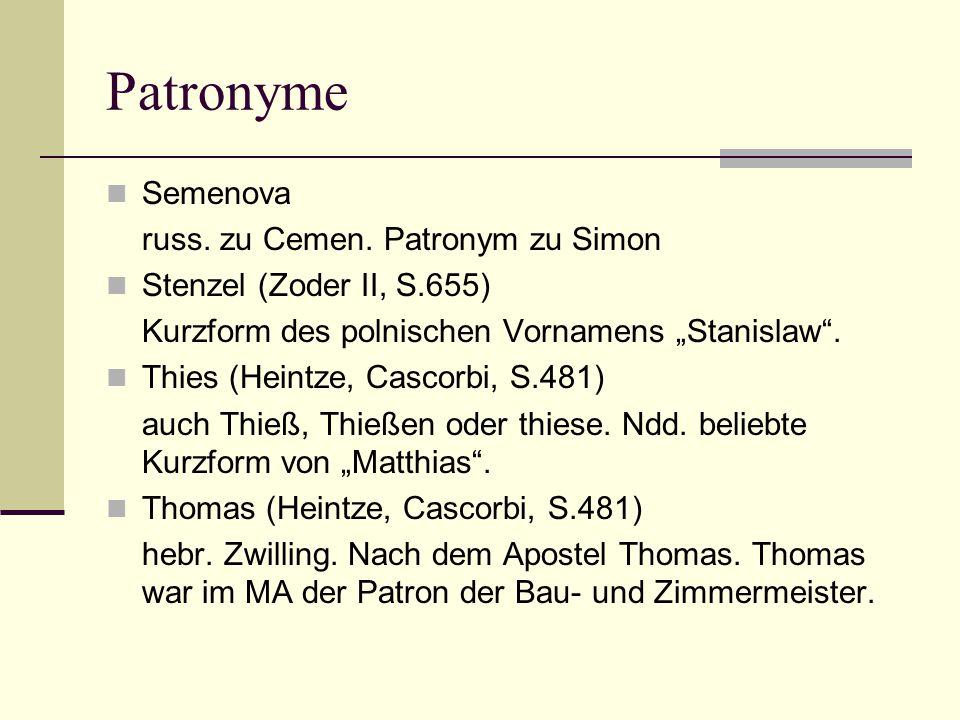 Patronyme Semenova russ. zu Cemen. Patronym zu Simon