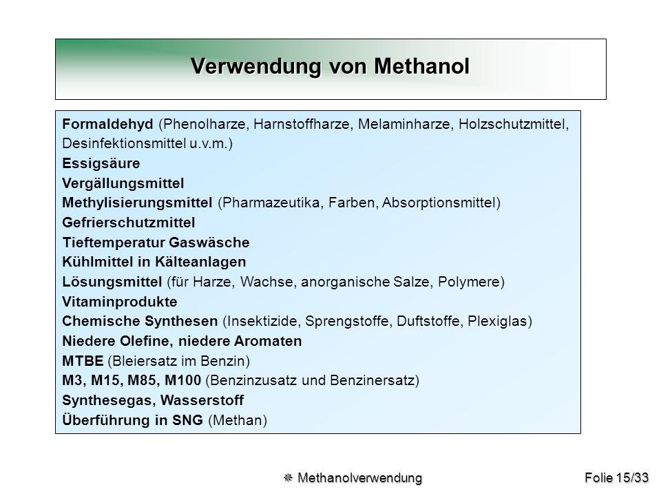 Verwendung von Methanol
