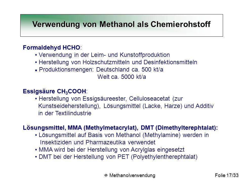 Verwendung von Methanol als Chemierohstoff