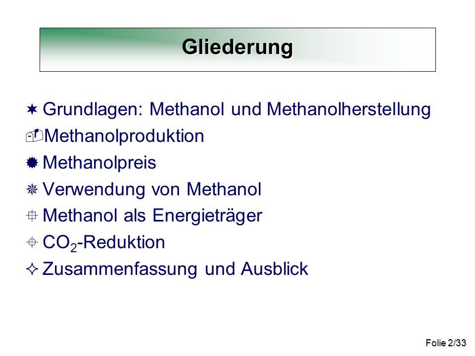 Gliederung Grundlagen: Methanol und Methanolherstellung