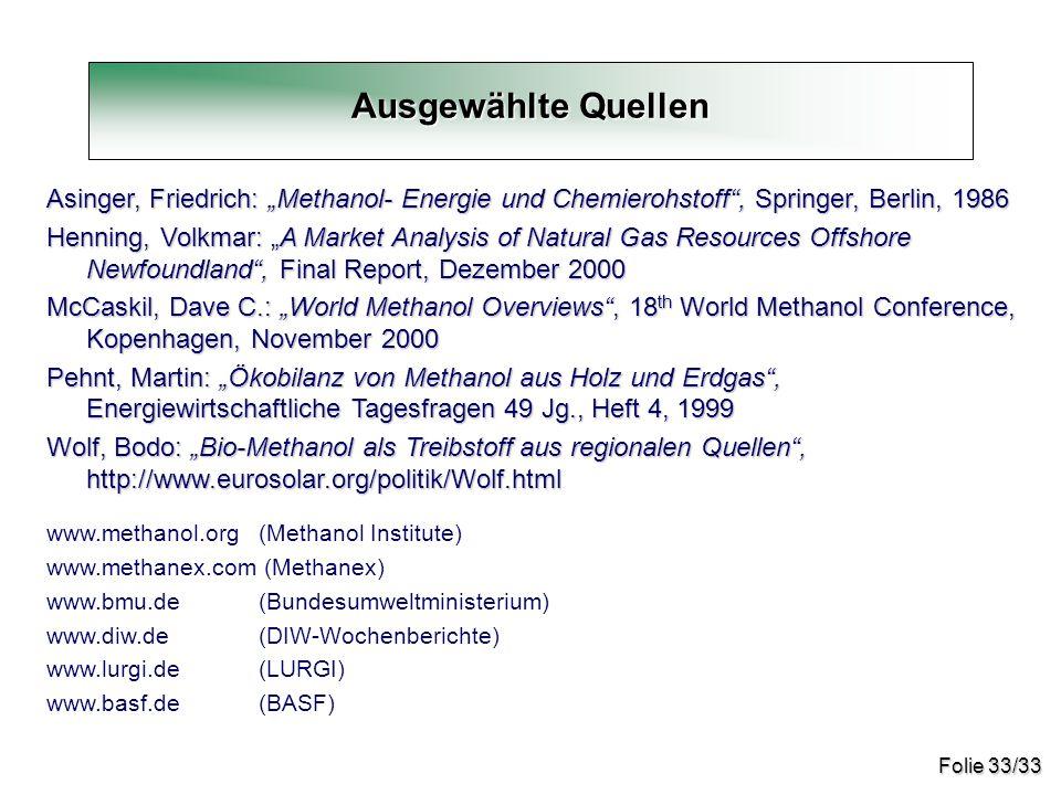 """Ausgewählte Quellen Asinger, Friedrich: """"Methanol- Energie und Chemierohstoff , Springer, Berlin, 1986."""