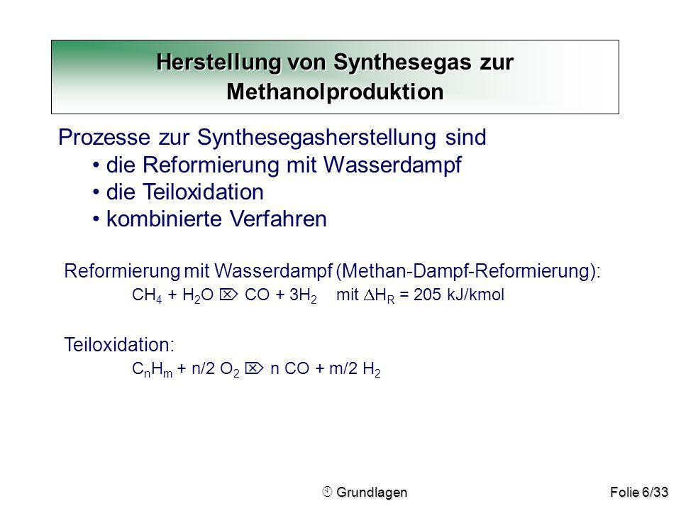 Herstellung von Synthesegas zur Methanolproduktion