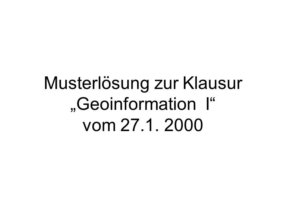 """Musterlösung zur Klausur """"Geoinformation I vom 27.1. 2000"""
