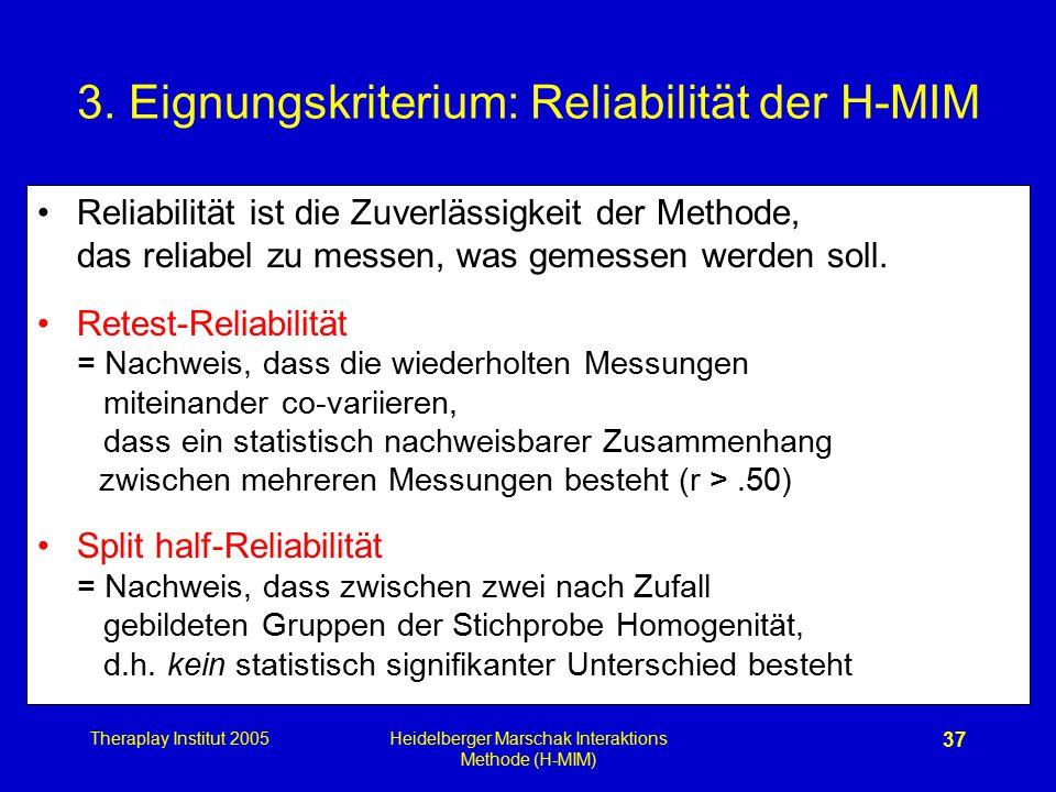 3. Eignungskriterium: Reliabilität der H-MIM